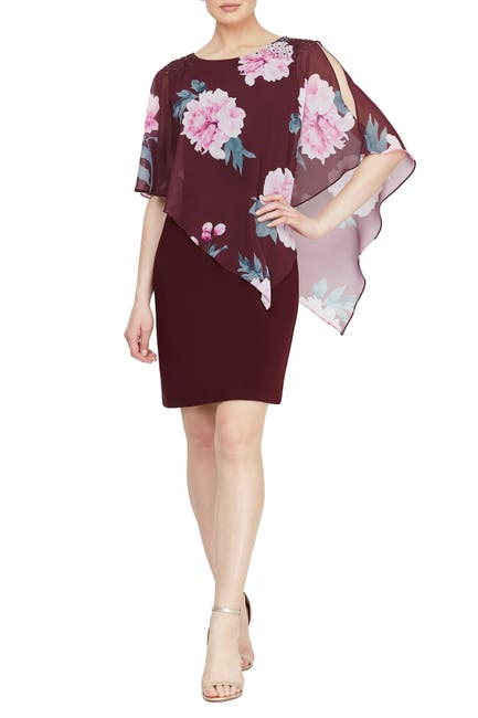 Image of SLNY Floral Chiffon Overlay Sheath Dress