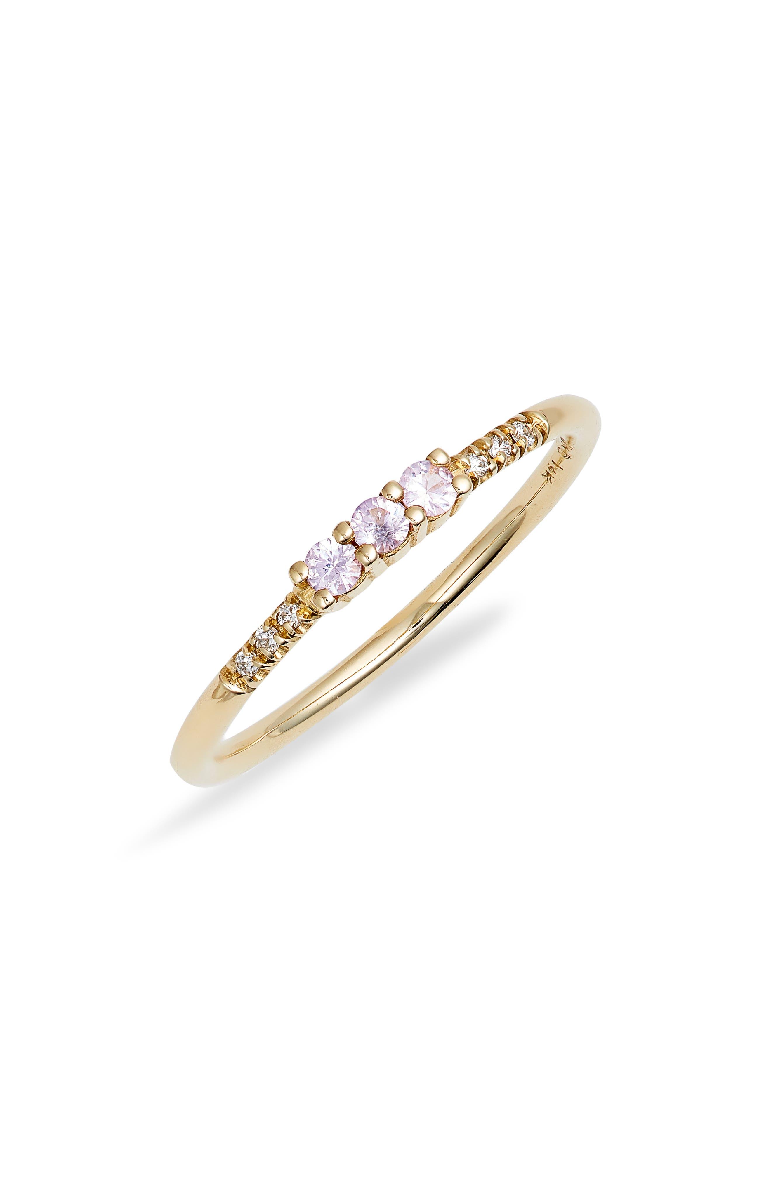 Three Pink Sapphire Equilibrium Ring