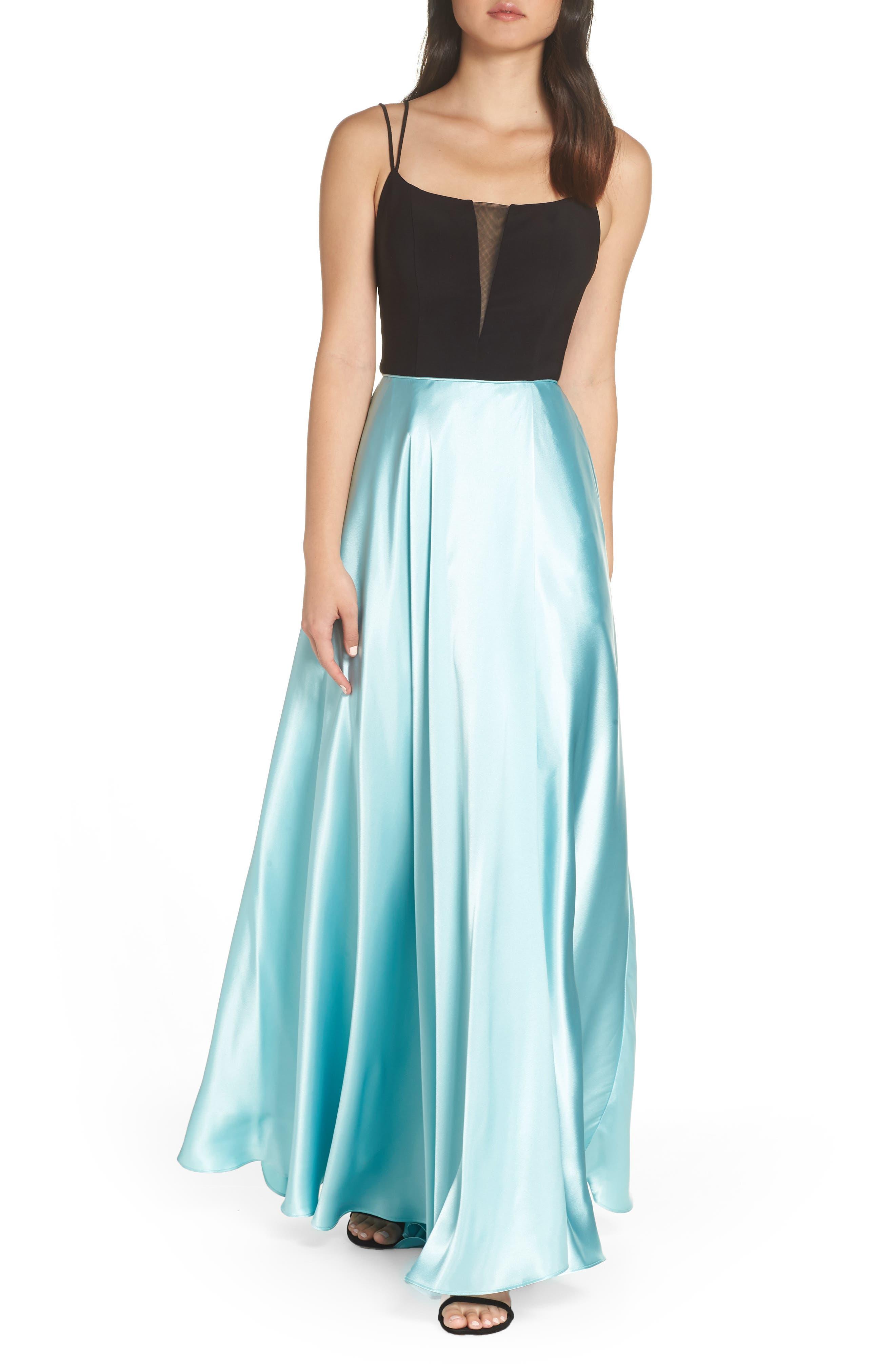 Blondie Nites Satin Evening Gown, Green