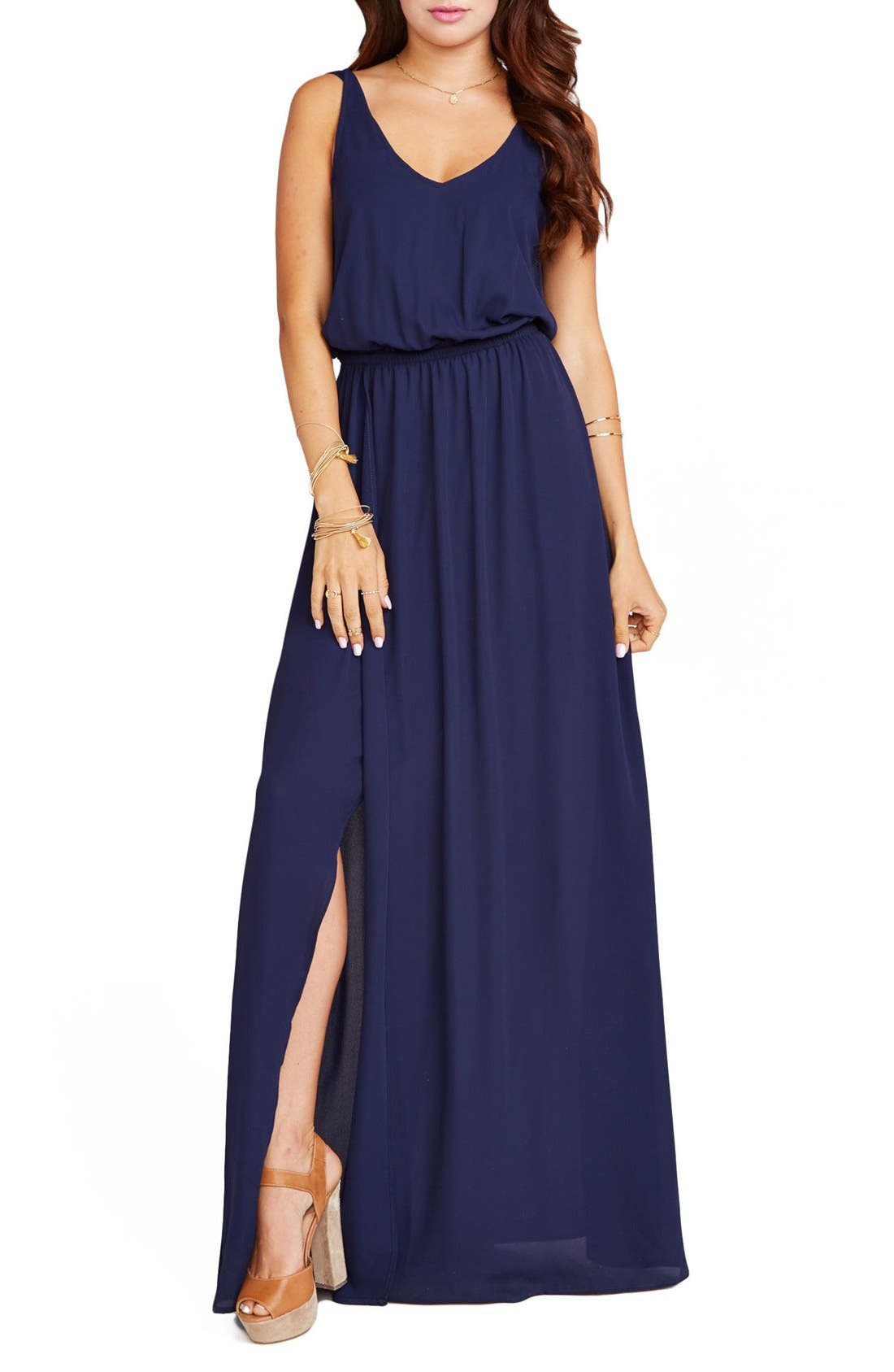 Show Me Your Mumu Kendall Soft V-Back A-Line Gown, Blue