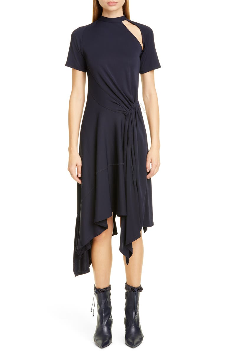 MONSE Asymmetrical Deconstructed Midi Dress, Main, color, MIDNIGHT