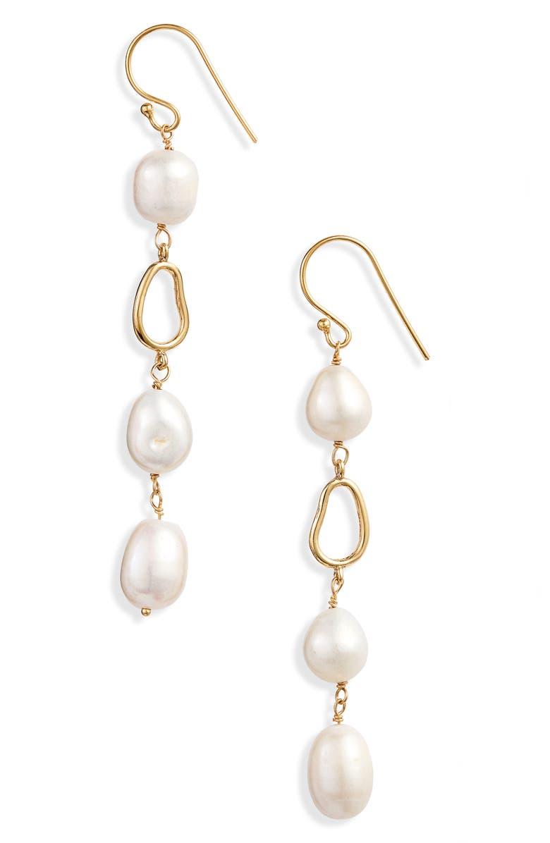 ARGENTO VIVO Freshweater Pearl Linear Drop Earrings, Main, color, 710