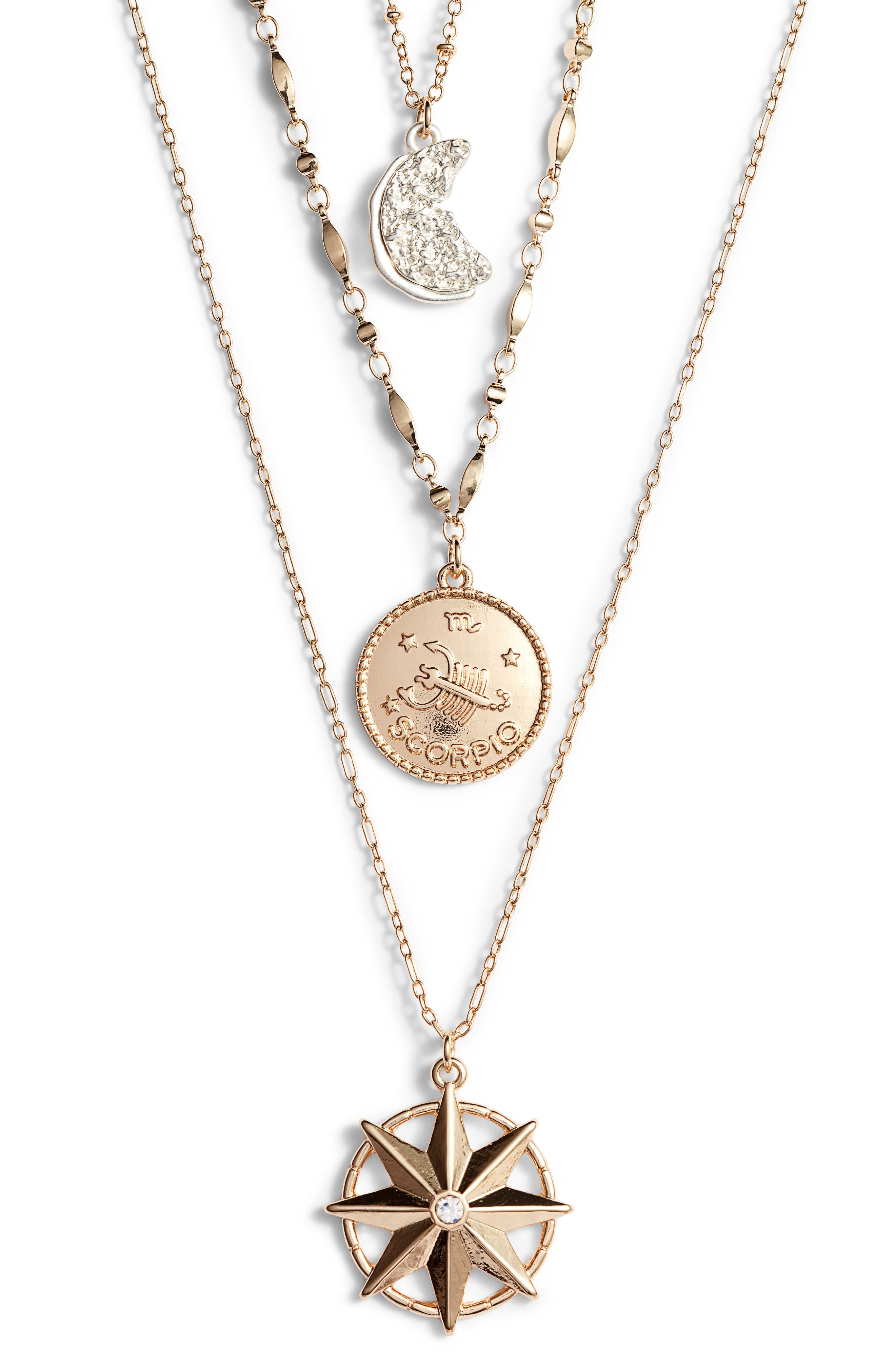 Scorpio Astrological Charm Layered Necklace