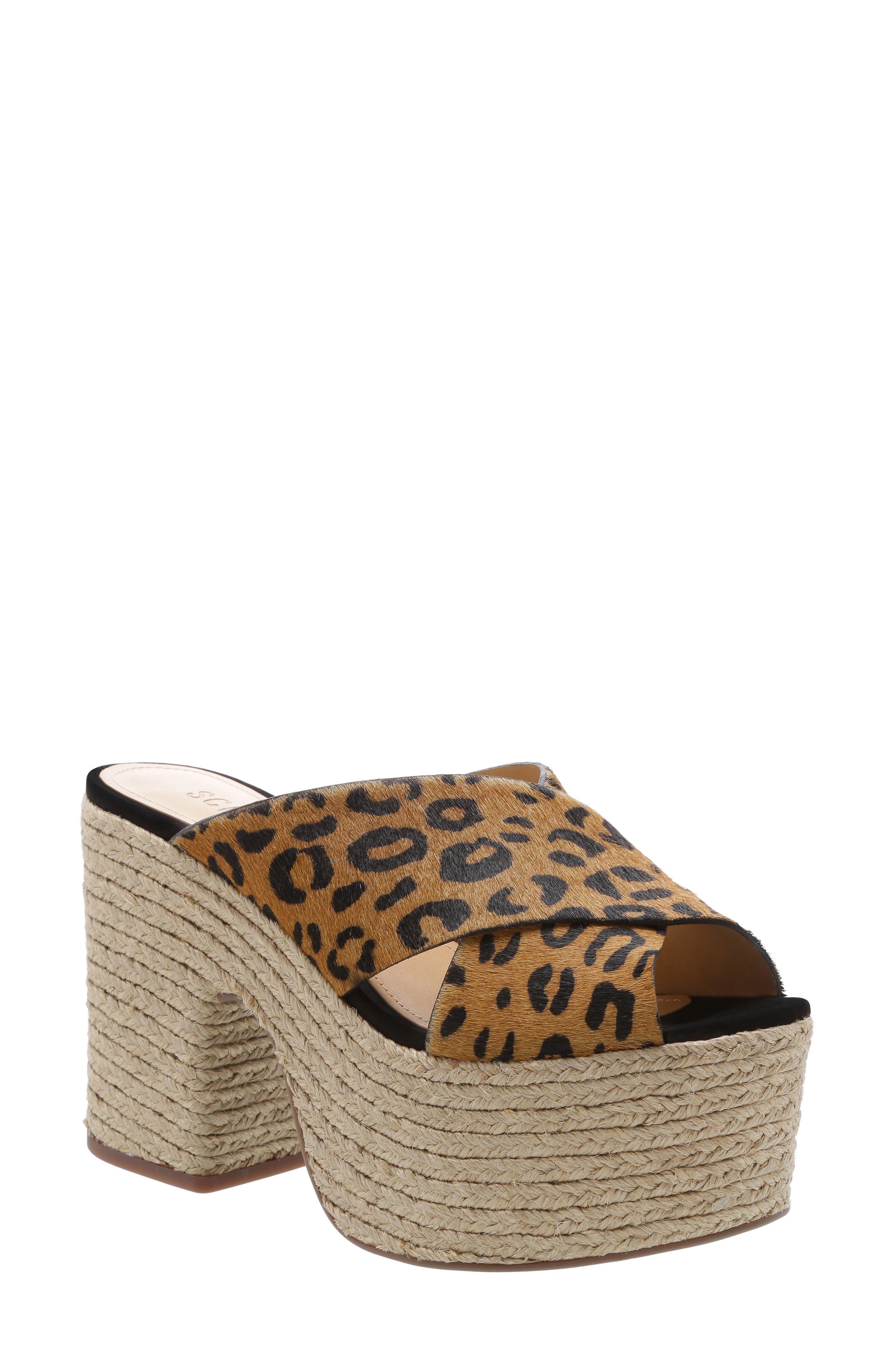 Schutz Lora Platform Genuine Calf Hair Sandal, Black