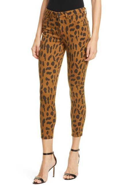 Image of L'AGENCE Margo Animal Print Crop Skinny Jeans