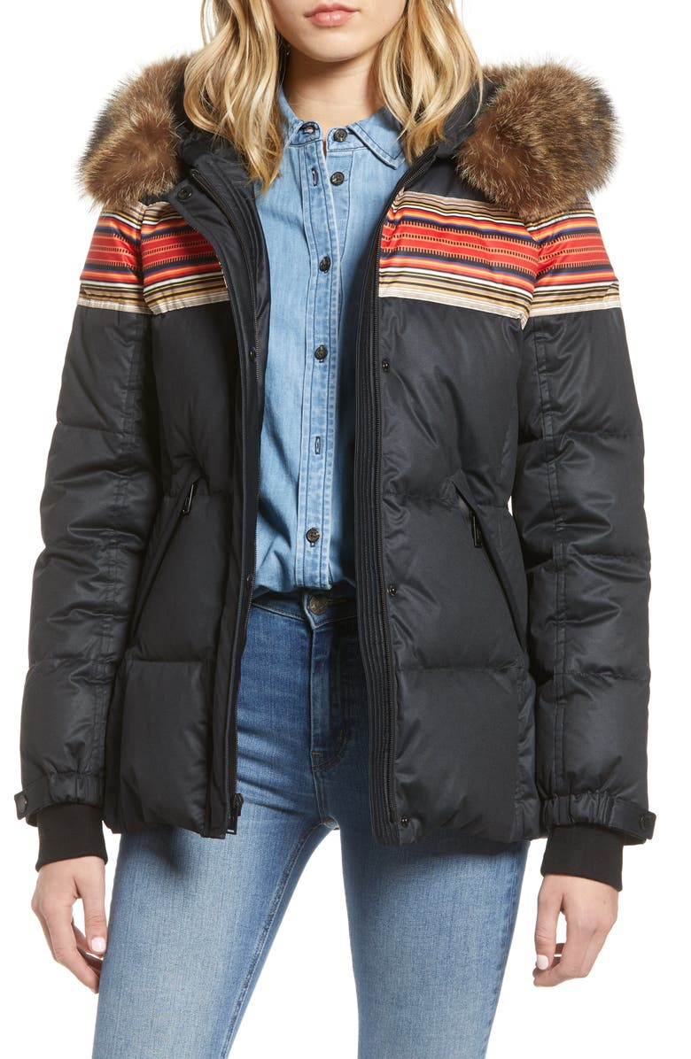 PENDLETON Snow Bunny 650 Power Fill Down Hooded Jacket with Genuine Raccoon Fur Trim, Main, color, 100