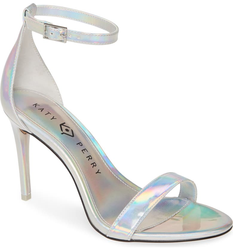 KATY PERRY Jamie Holographic Ankle Strap Sandal, Main, color, SILVER