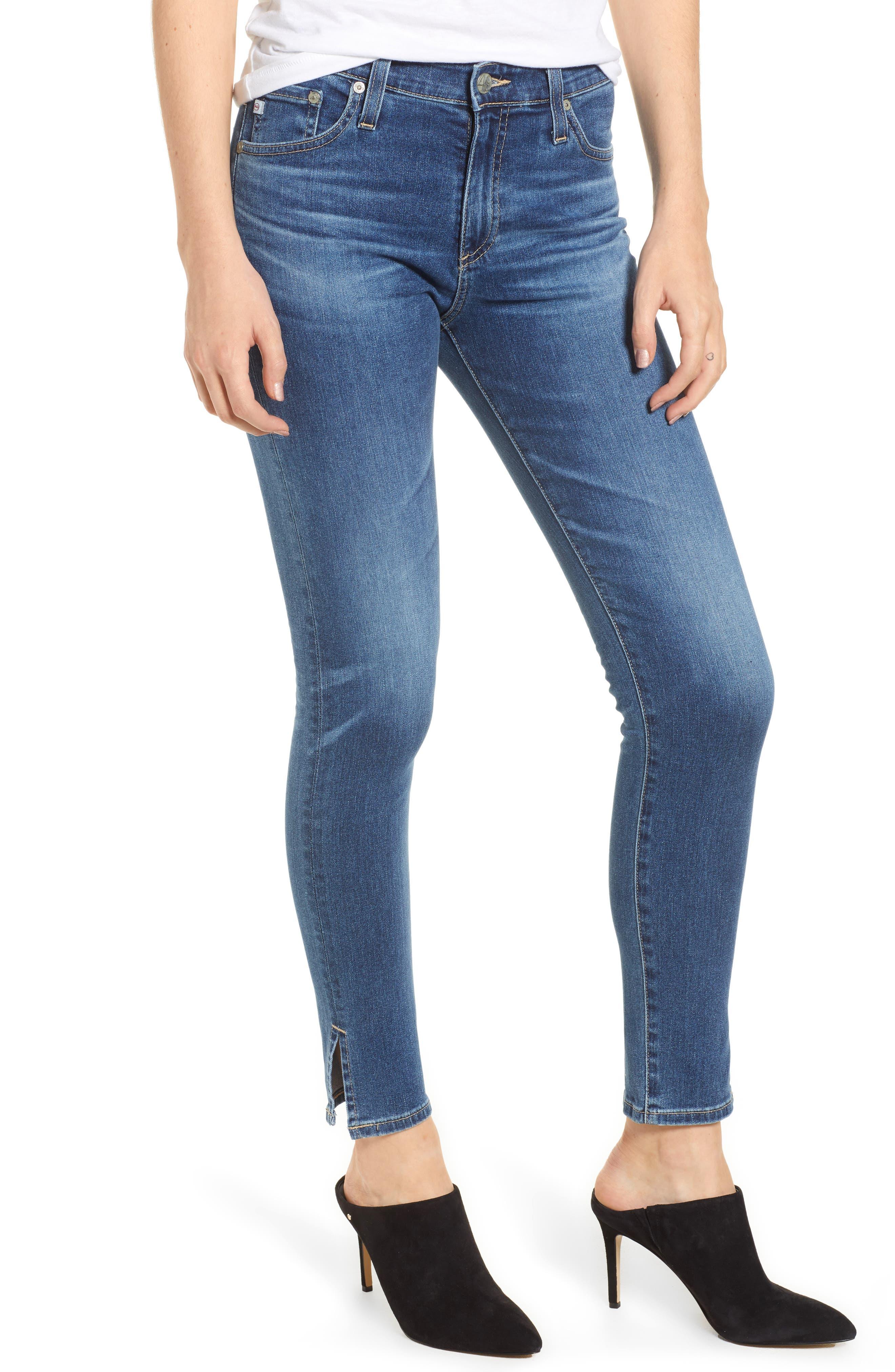 Farrah High Waist Split Hem Skinny Jeans, Main, color, 10 YEARS CAMBRIA