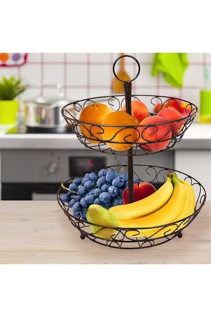 Image of Sorbus Bronze 2-Tier Countertop Fruit Basket Holder & Decorative Bowl Stand