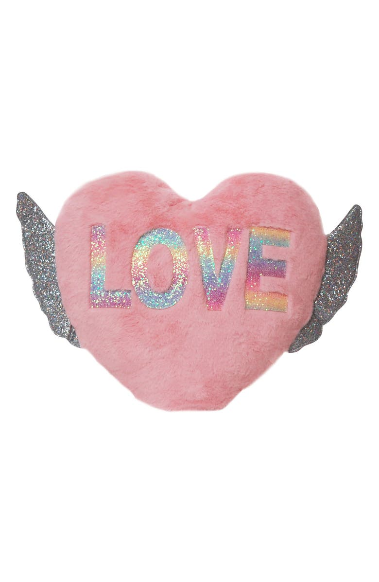 OMG ACCESSORIES OMG Love Winged Heart Pillow, Main, color, PINK