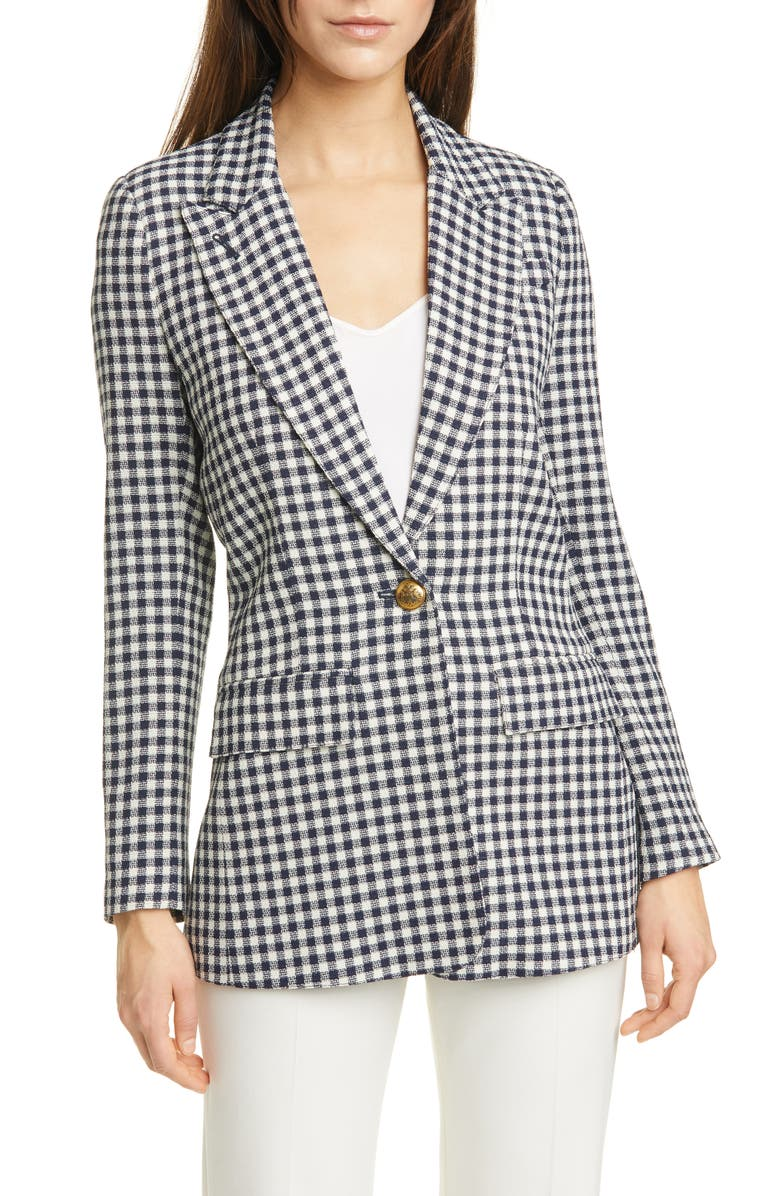 SMYTHE Check Wool Blazer, Main, color, NAVY CHECK