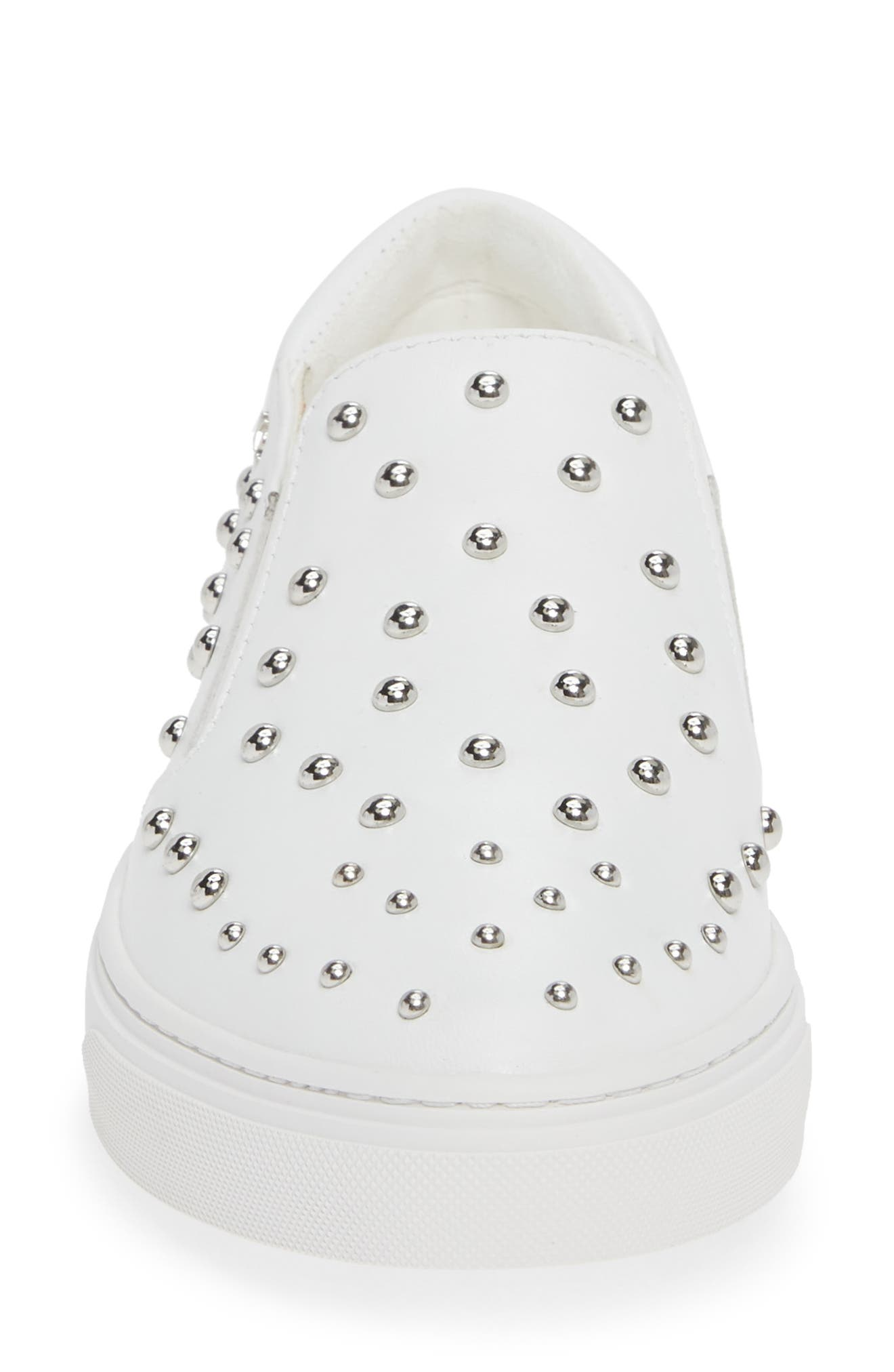 ,                             Mara Stud Slip-On Sneaker,                             Alternate thumbnail 4, color,                             WHITE LEATHER