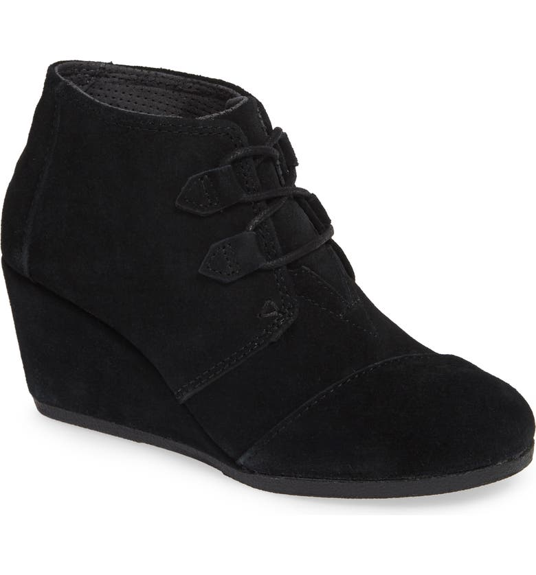 TOMS Kala Wedge Bootie, Main, color, BLACK SUEDE