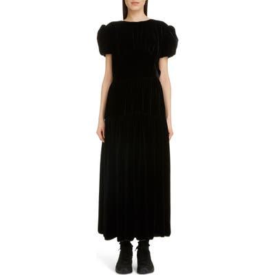 Cecilie Bahnsen Tia Velvet Midi Dress, US / 6 UK - Black