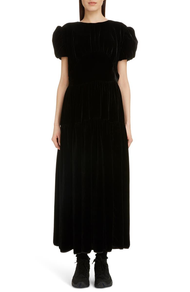 CECILIE BAHNSEN Tia Velvet Midi Dress, Main, color, BLACK