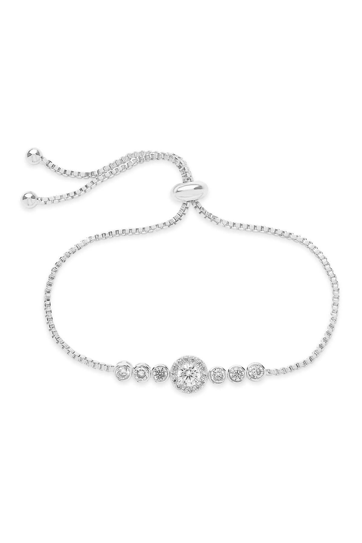 Image of Sterling Forever Rhodium Plated CZ Circlet Bolo Bracelet