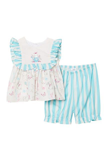 Image of Pippa & Julie Bunny Stripe Ruffle 2-Piece Dress & Bloomers Set