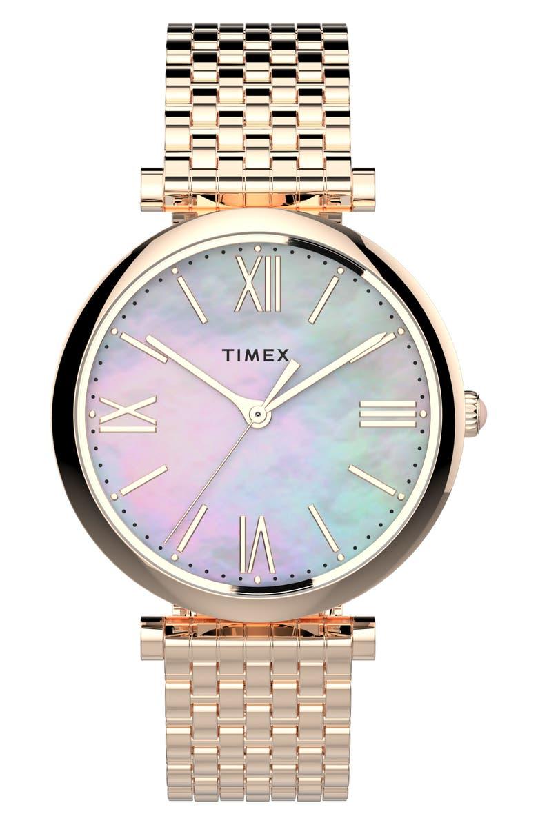 TIMEX<SUP>®</SUP> Parisienne Bracelet Watch, 35mm, Main, color, ROSE GOLD/ MOP/ ROSE GOLD
