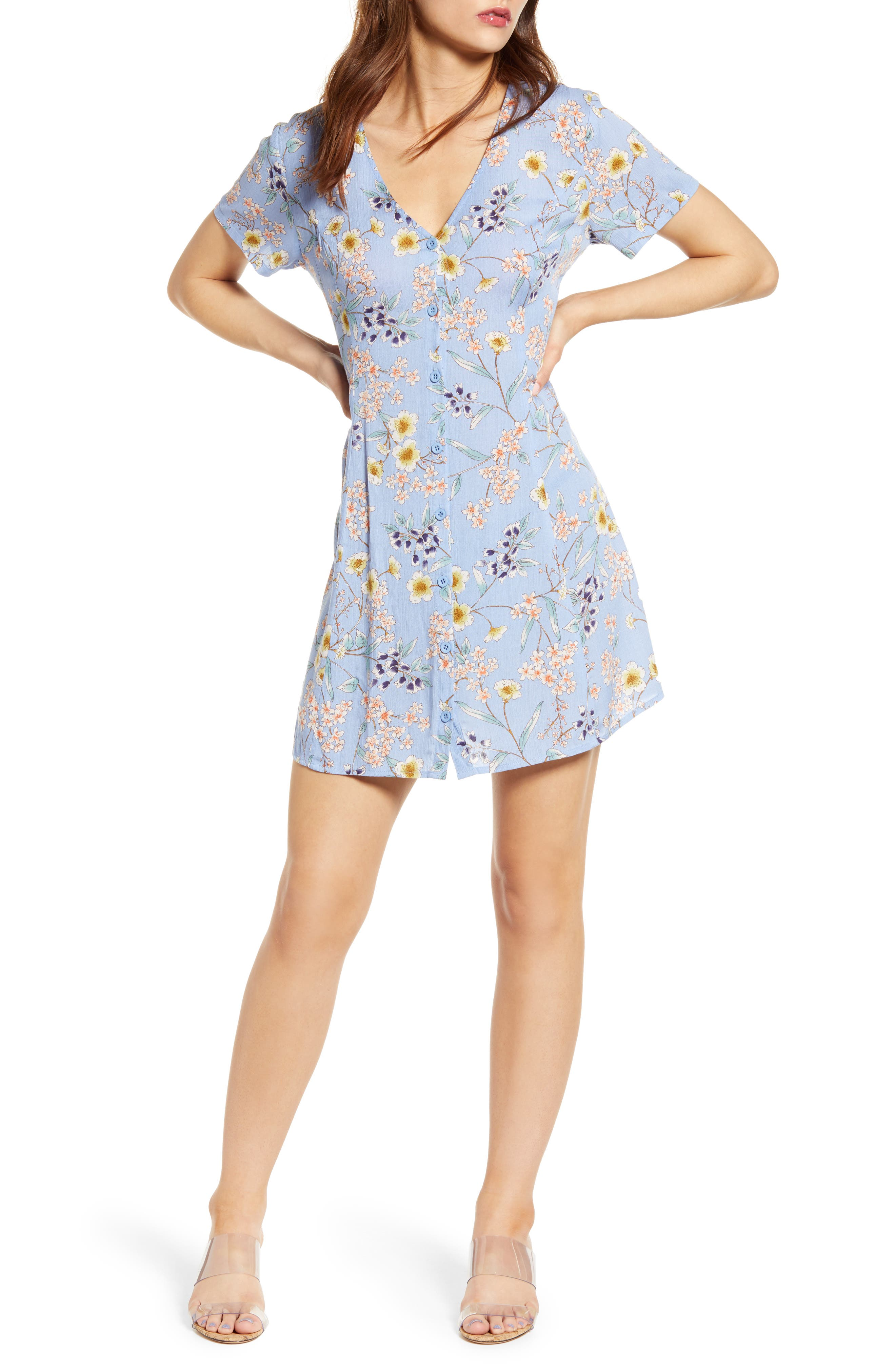 All In Favor Button Up Tie Back Minidress, Blue