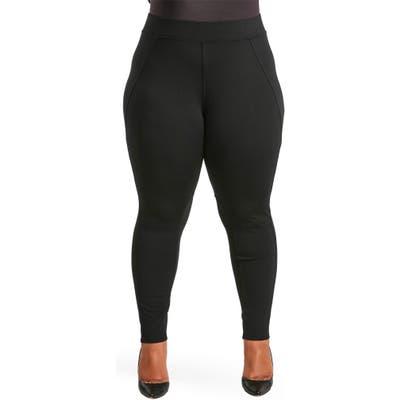 Plus Size Poetic Justice Michelle Ponte Knit Leggings, Black