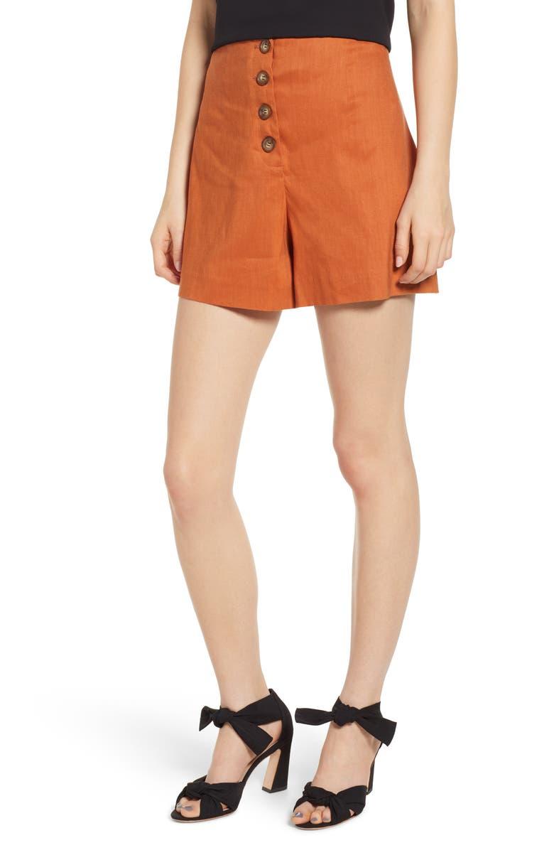 LEITH Button Front Shorts, Main, color, 210