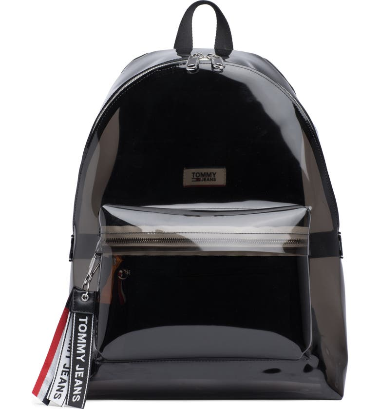 TOMMY JEANS Woven Logo Clear Backpack, Main, color, BLACK