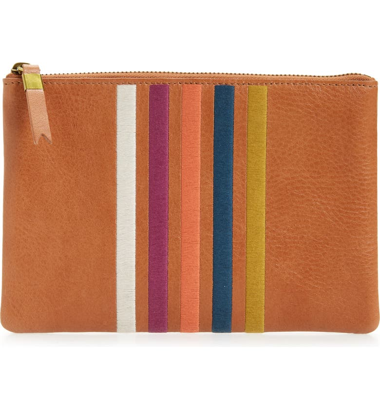MADEWELL The Leather Pouch Clutch: Embroidered Rainbow Stripes Edition, Main, color, 200