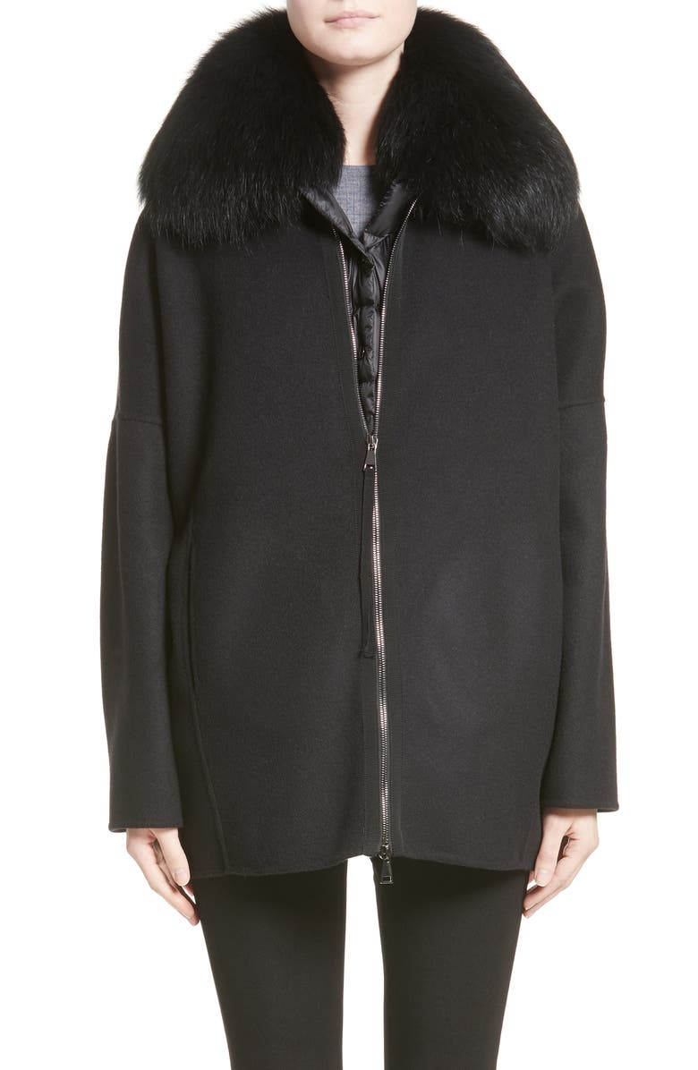 0a98eea12 Moncler Buxus Wool & Cashmere Coat with Removable Genuine Fox Fur ...