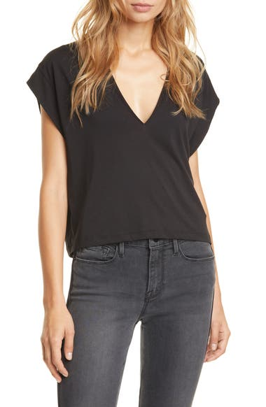 frame le high rise v neck organic pima cotton t shirt nordstrom le high rise v neck organic pima cotton t shirt