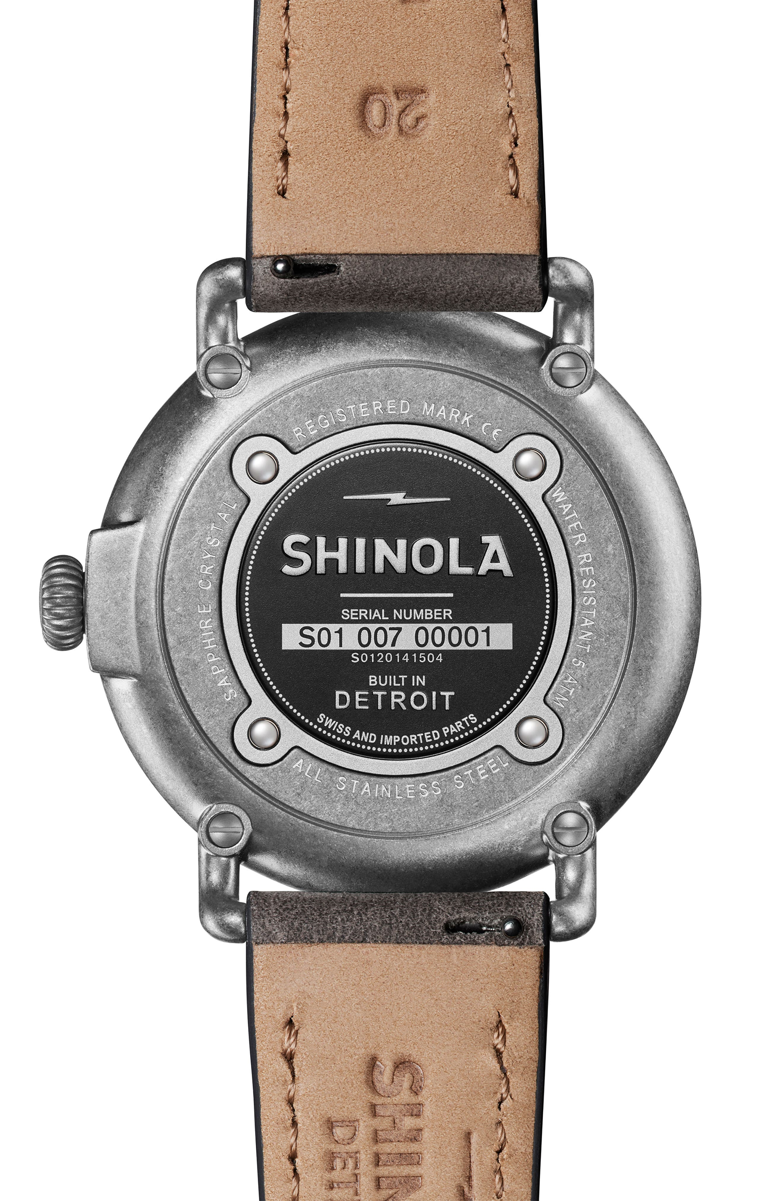 ,                             'Runwell' Leather Strap Watch, 41mm,                             Alternate thumbnail 3, color,                             HEATHER/ IVORY/ SILVER