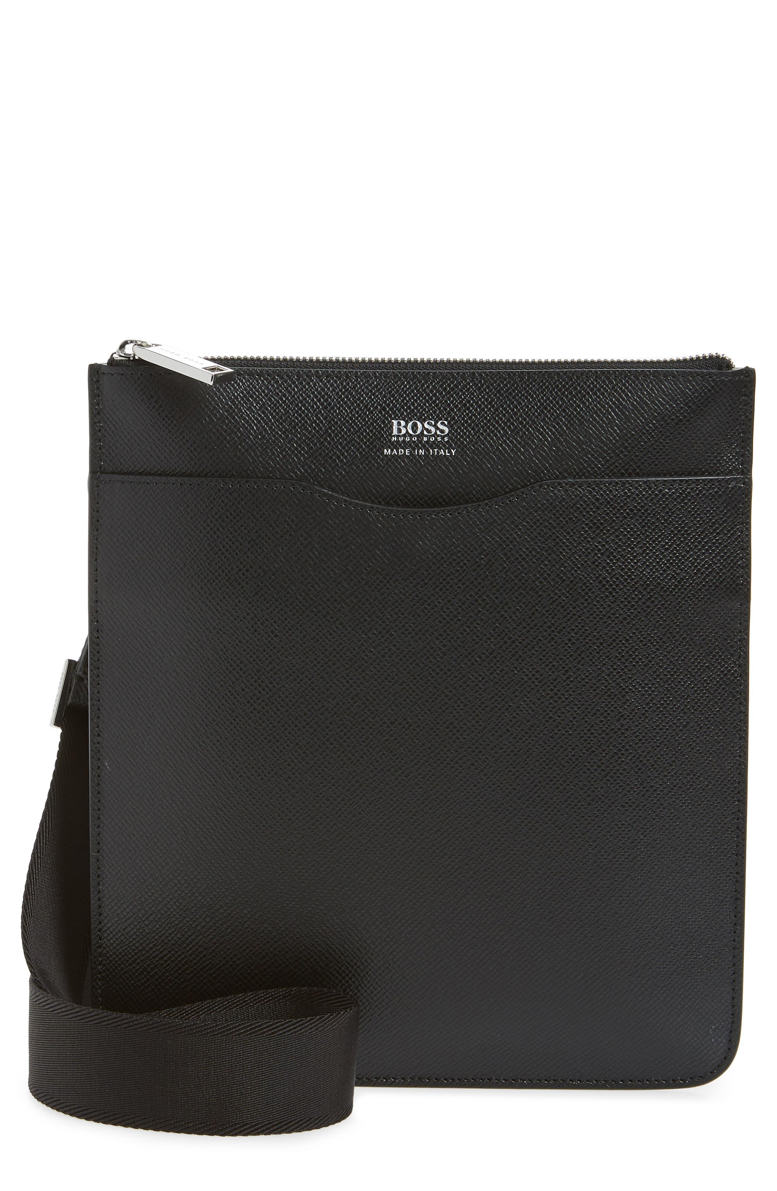 Signature Crossbody Bag, Main, color, BLACK