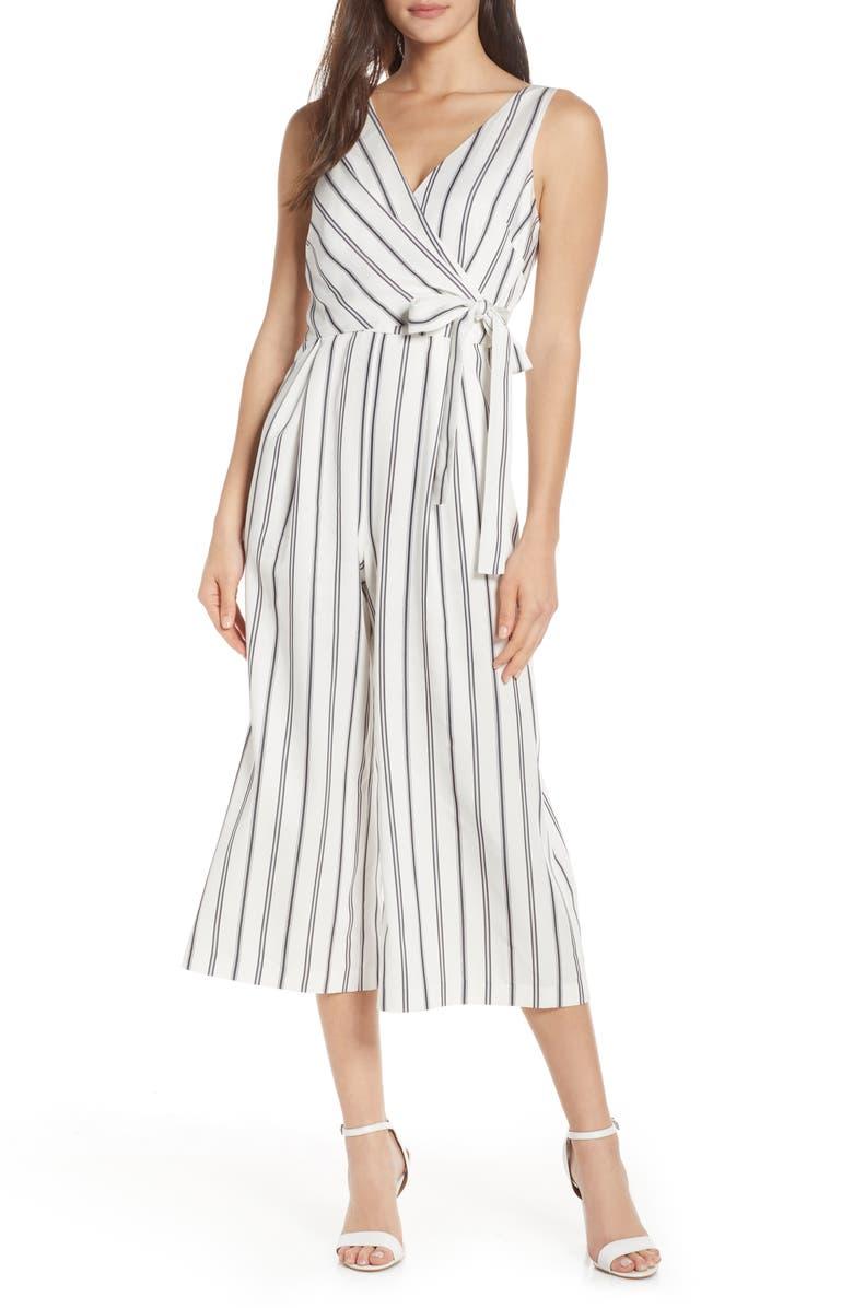 CHELSEA28 Stripe Faux Wrap Crop Jumpsuit, Main, color, 900