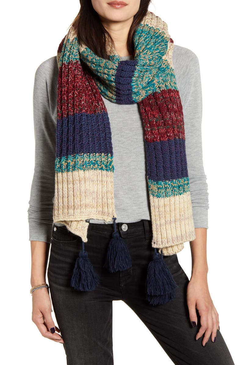 TREASURE & BOND Stripe Tassel Scarf, Main, color, BLUE COMBO