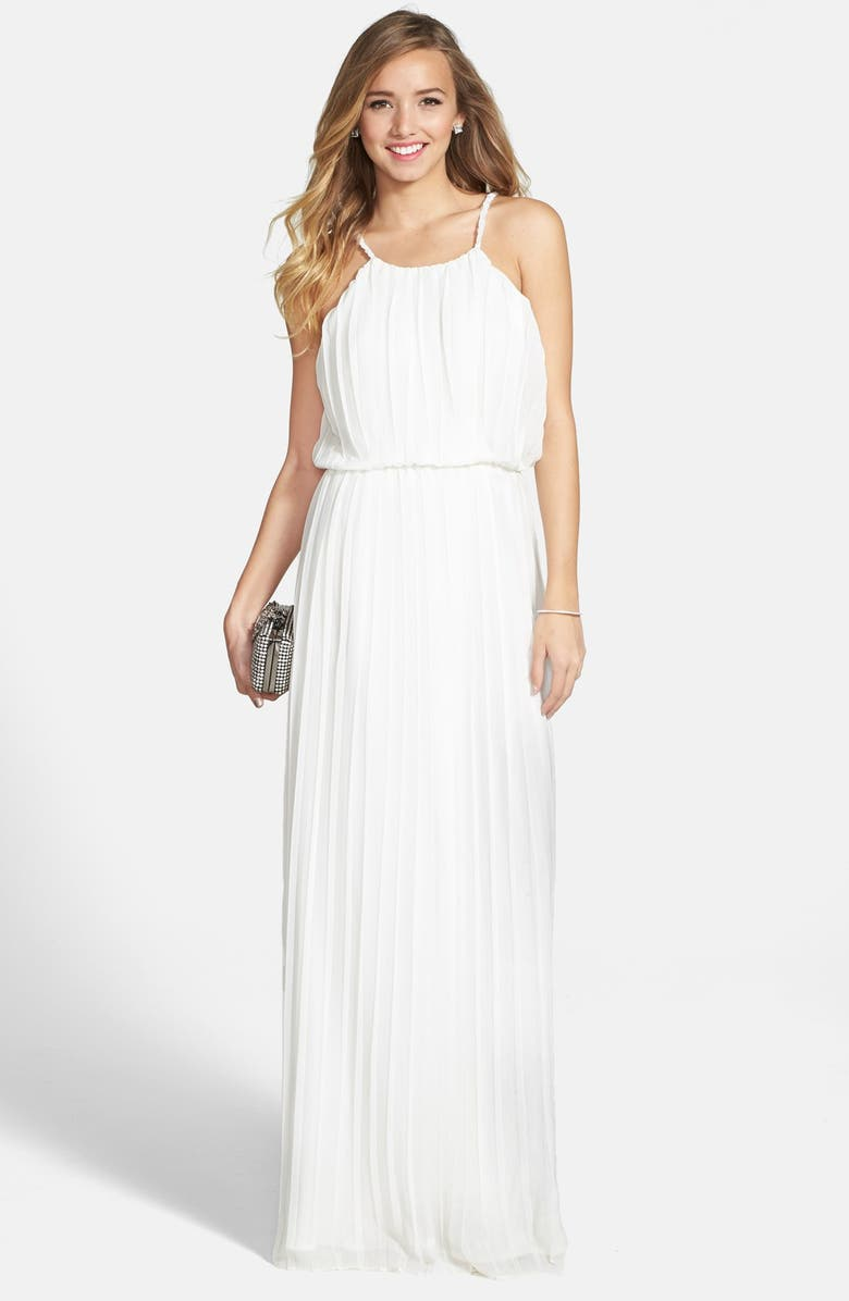 A. DREA 'Athena' Pleated Gown, Main, color, 100