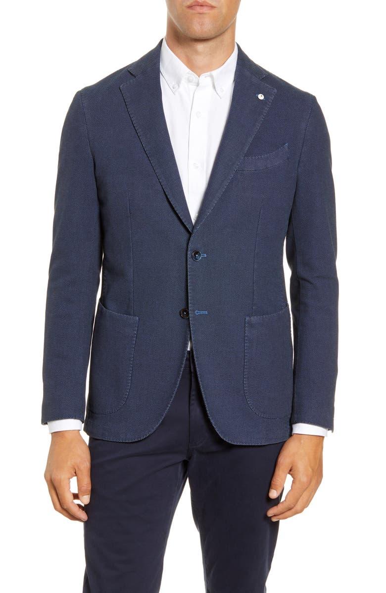 L.B.M. 1911 Trim Fit Nailhead Stretch Cotton Blend Sport Coat, Main, color, BLUE