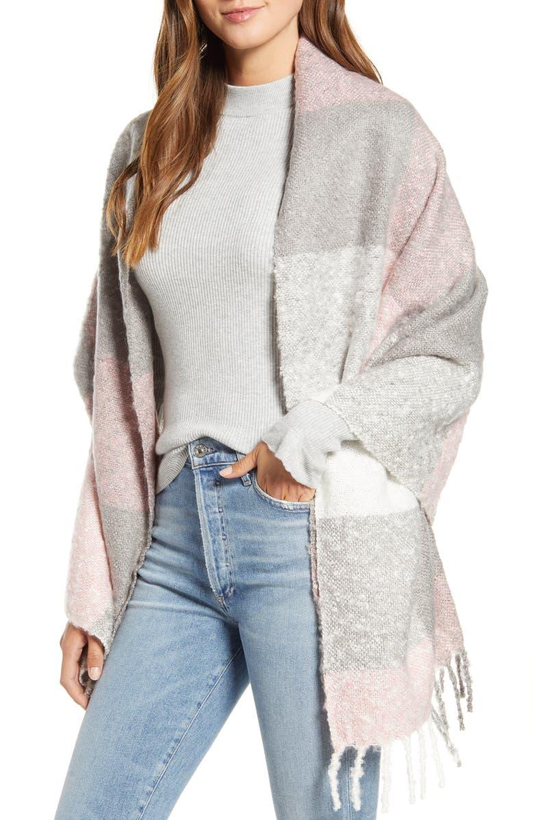 RACHEL PARCELL Plaid Blanket Wrap, Main, color, PINK COMBO
