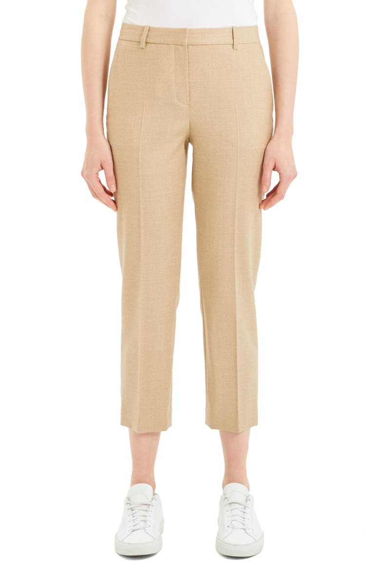 THEORY Crop Trousers, Main, color, LIGHT CAMEL MELANGE