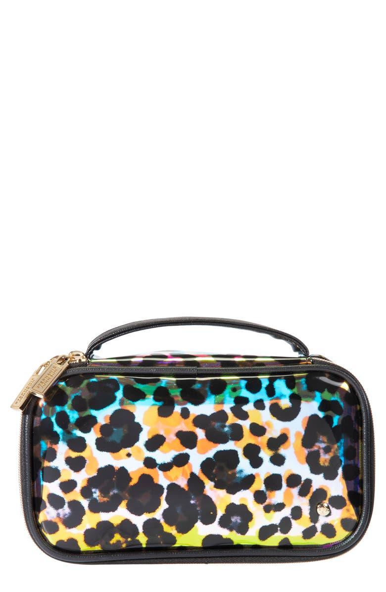 STEPHANIE JOHNSON Claire Miami Cheetah Medium Makeup Bag, Main, color, No Color