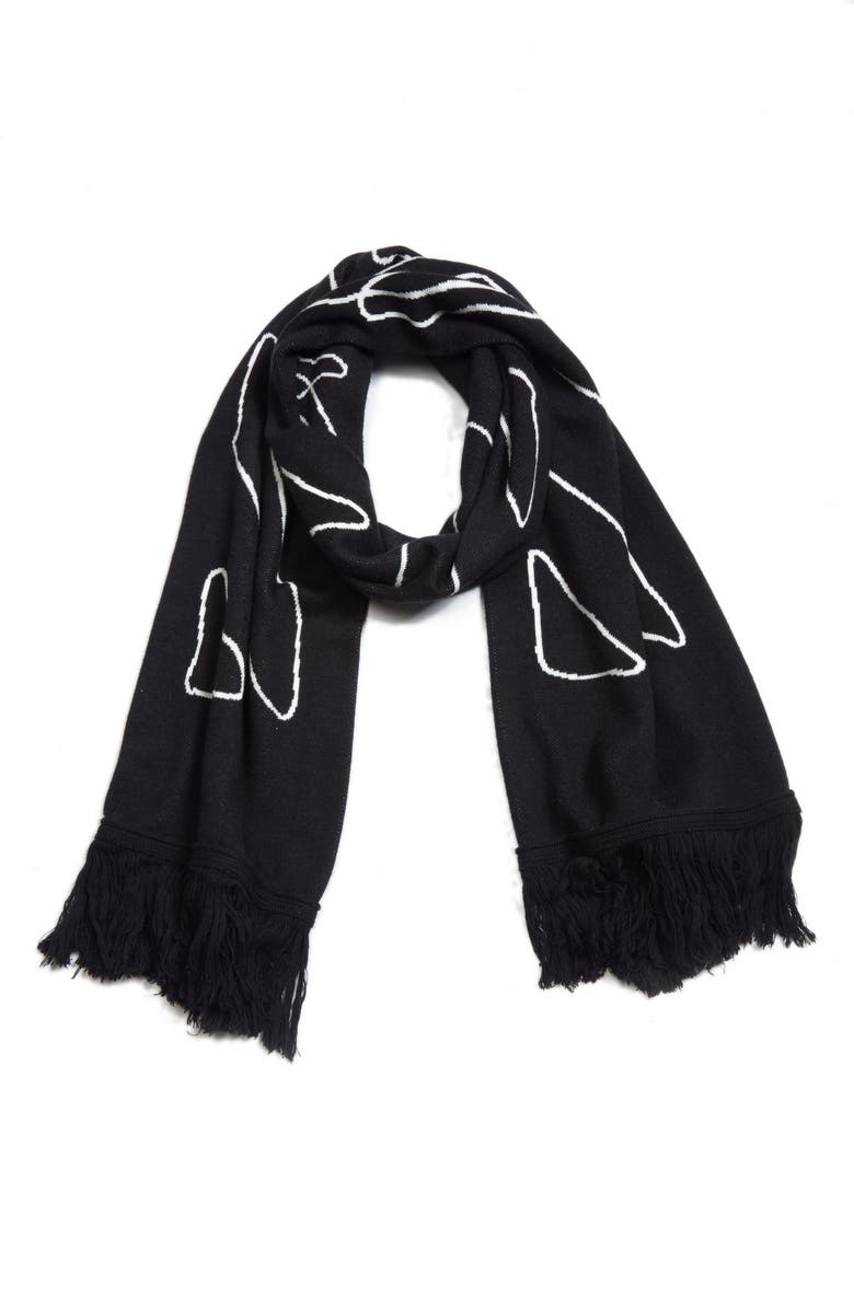 OFF-WHITE Abstract Arrows Scarf, Main, color, BLACK WHITE