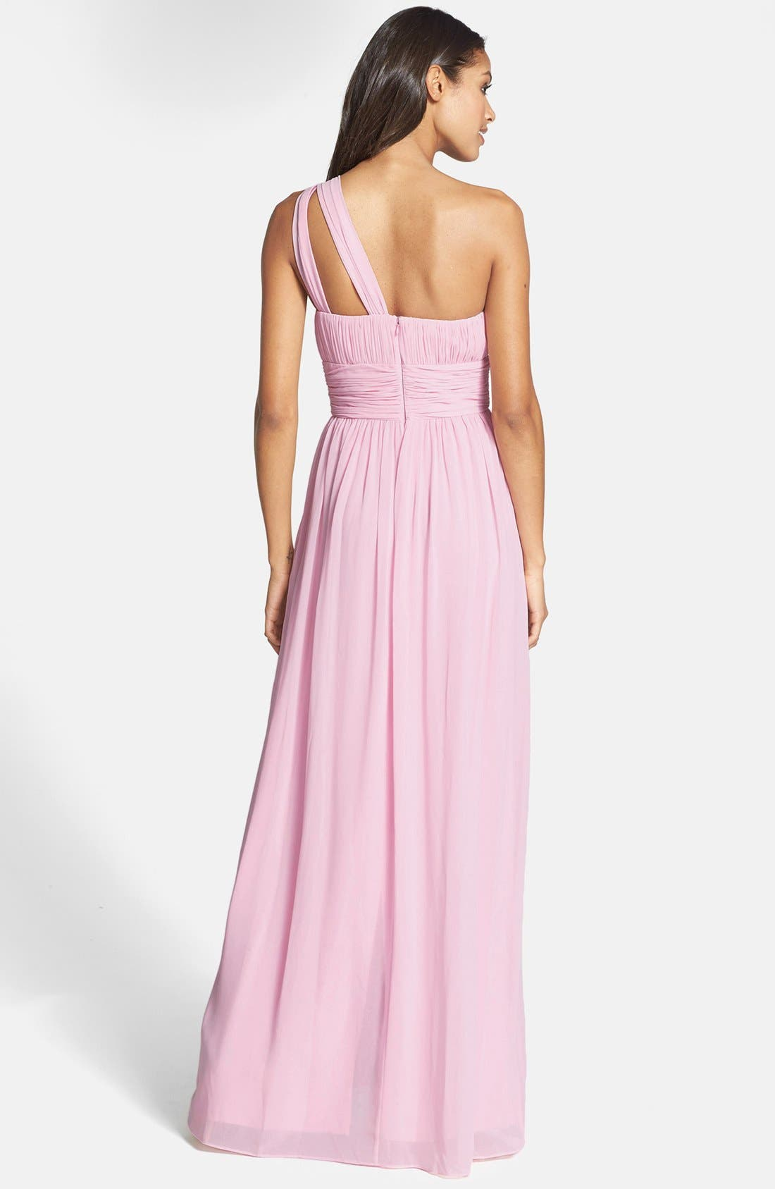 ,                             'Rachel' Ruched One-Shoulder Chiffon Gown,                             Alternate thumbnail 117, color,                             685