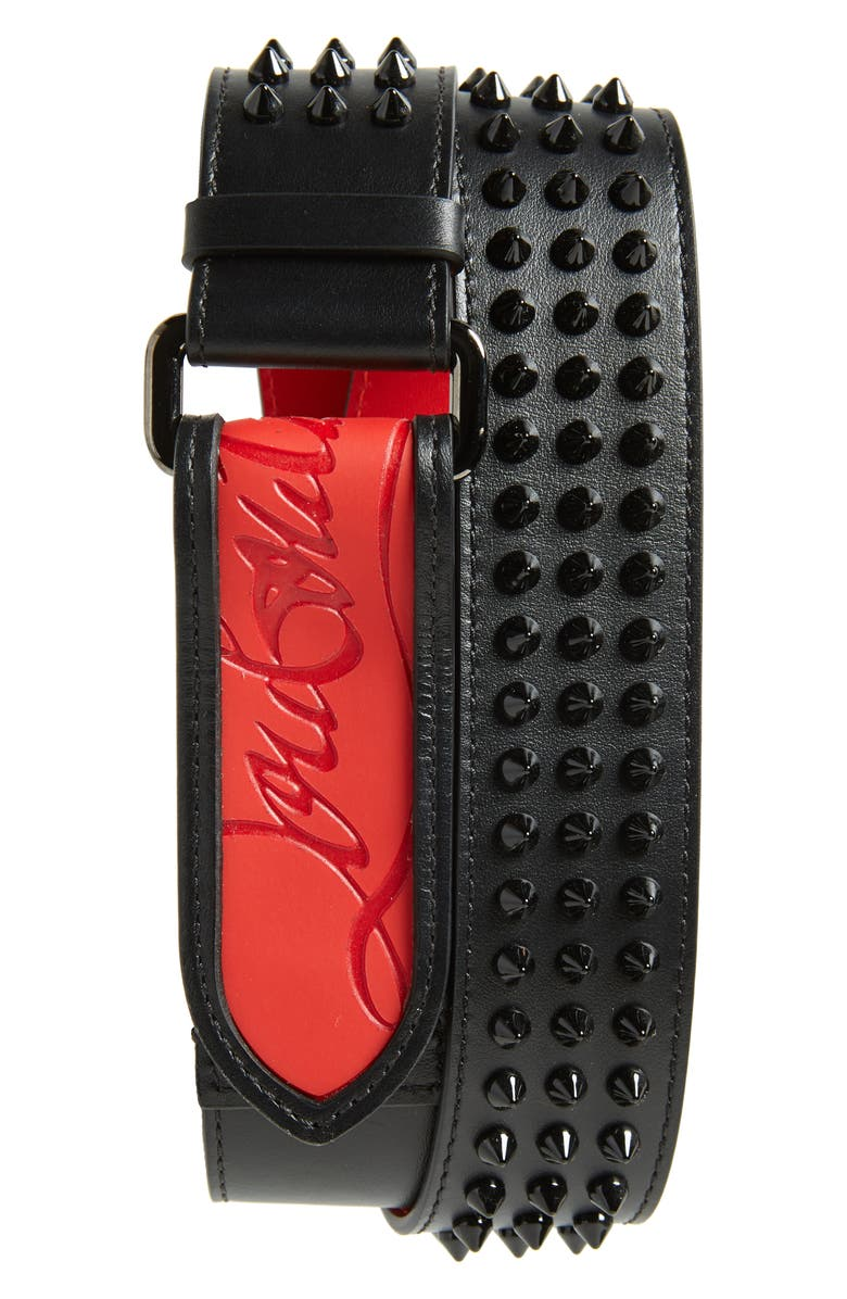 CHRISTIAN LOUBOUTIN Studded Leather Belt, Main, color, 007