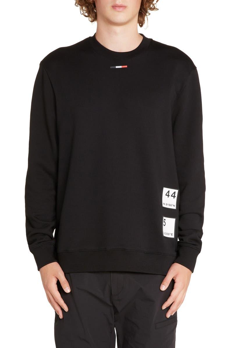 MONCLER Maglia Mattle Girocollo Crewneck Sweatshirt, Main, color, BLACK