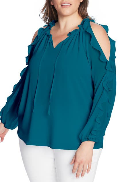 1.state 1. STATE RUFFLE COLD-SHOULDER GEORGETTE TOP