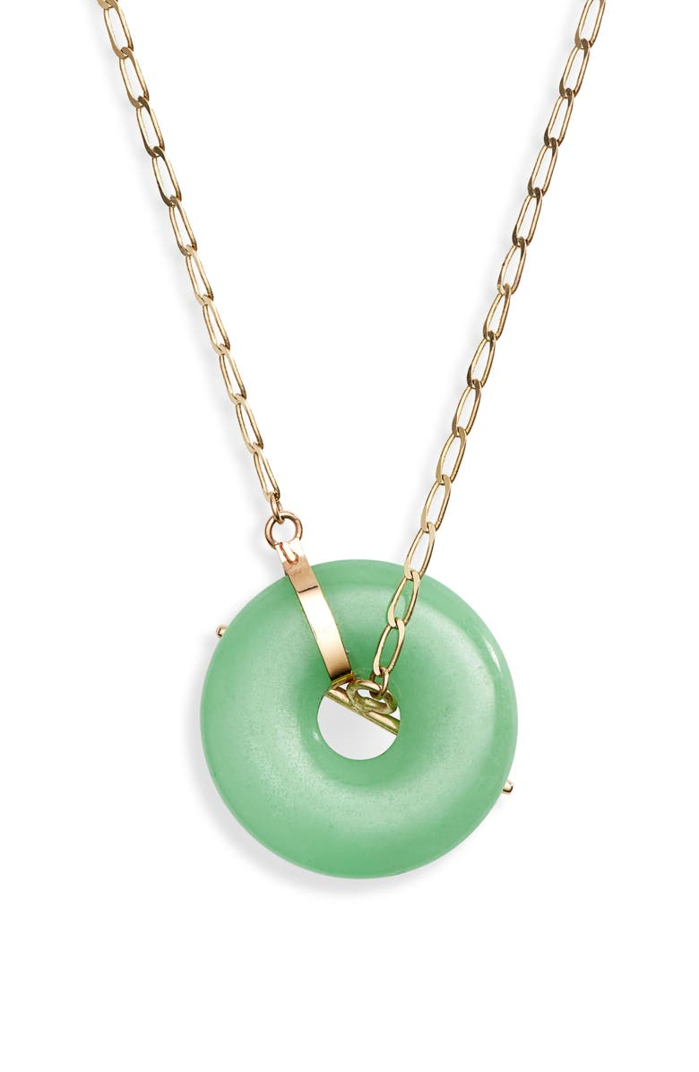 LOREN STEWART Jade Donut Pendant Necklace, Main, color, YELLOW GOLD/ GREEN JADE