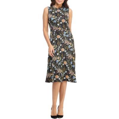 Maggy London Floral Charmeuse A-Line Dress, Black