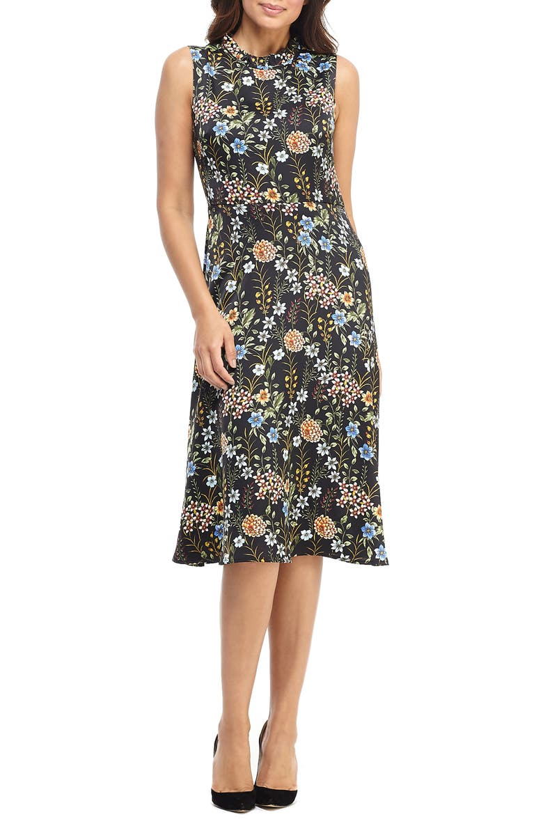 MAGGY LONDON Floral Charmeuse A-Line Dress, Main, color, BLACK MULTI