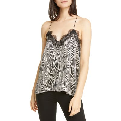 Cami Nyc The Racer Lace Trim Silk Camisole, Black