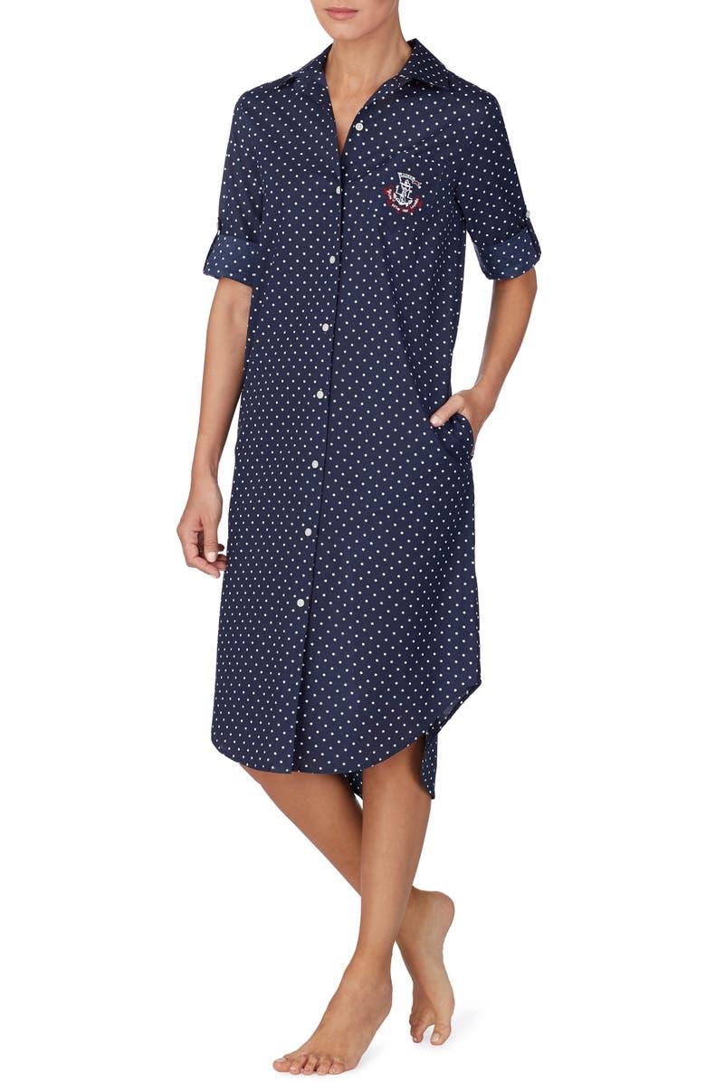 LAUREN RALPH LAUREN Polka Dot Sleep Shirt, Main, color, NAVY DOT