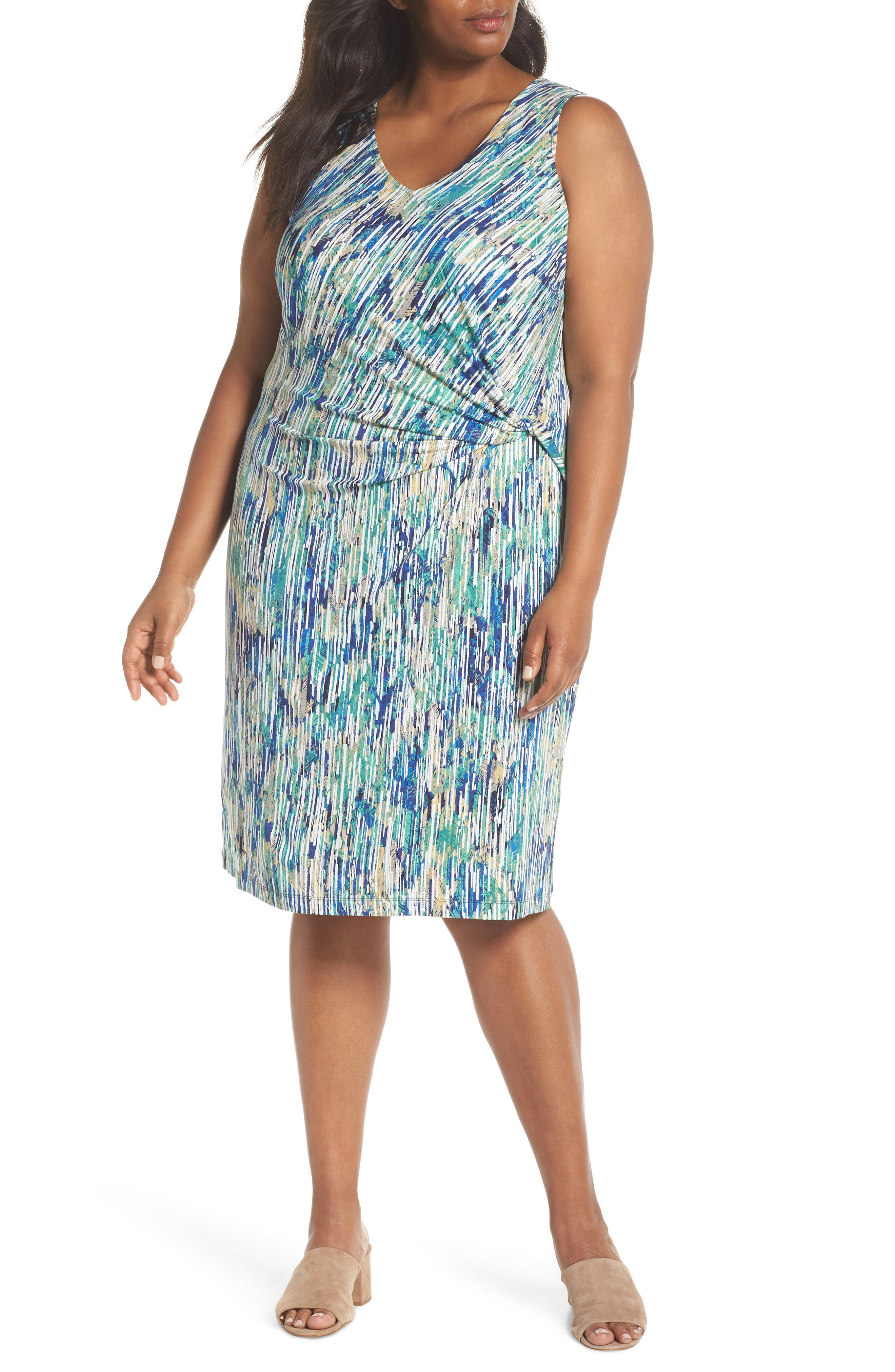 Plus Size Nic+Zoe Mirage Print Side Twist Dress, Blue