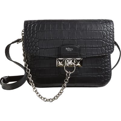 Mulberry Keeley Croc Embossed Leather Satchel - Black
